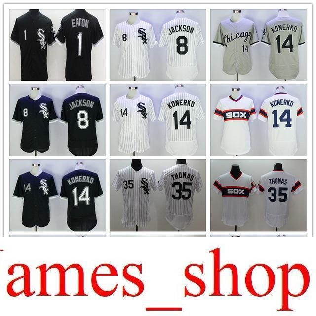 a68e83a8459 2019 2019 Mens White Sox 1 Adam Eaton 8 Bo Jackson 14 Paul Konerko 35  Thomas 79 Jose Abreu 100% Stitched Baseball Jerseys Color White Size:S XXXL  From ...