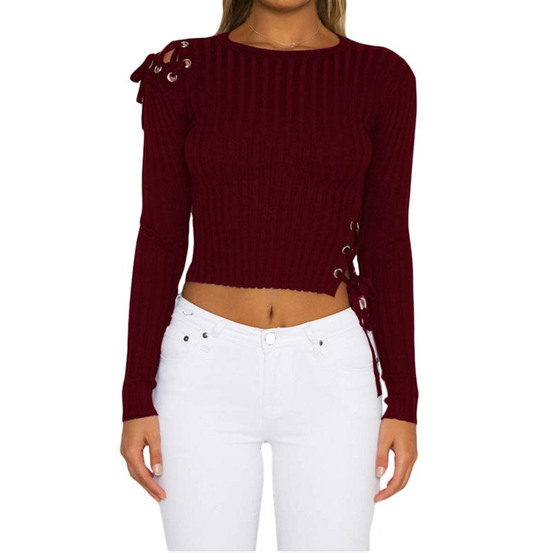 766fcf27f0 2019 Fashion Women Knitted Sweater Metal Strap Shirt Crop Top Long Sleeve O  Neck Rib Knit Long Sleeve Shirt Knitted Shirts Women Sweaters From  Cherryjade666 ...