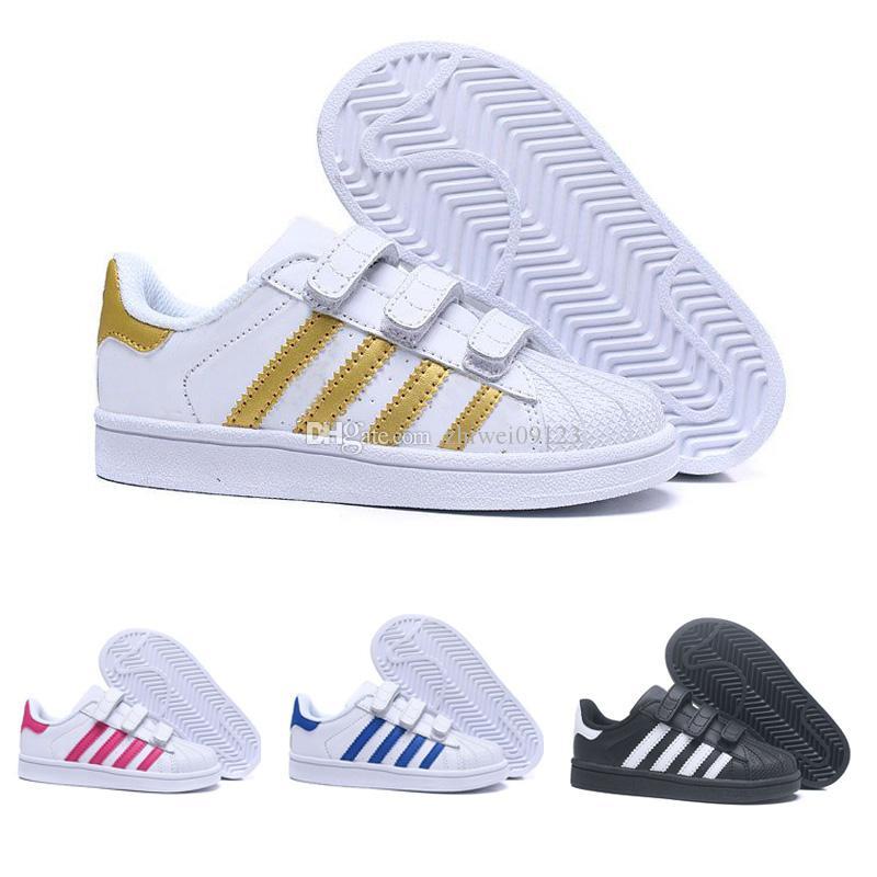 5accd271a3c1e Acquista Adidas Superstar Nuovo Arrivo i Bambini Superstar Causale Scarpe  Con Tre Hookloop Ragazzi Ragazze Moda Super Stars Il Tempo Libero Sneakers  Taglia ...