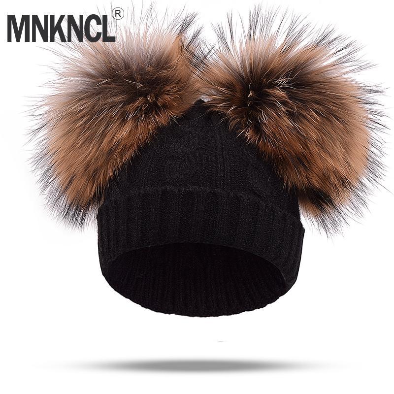 Real Mink Fur Pompom Hat Women Winter Caps Knitted Wool Cotton Hats Two Pom  Poms Skullies Beanies Bonnet Girls Female Cap D18110102 Sun Hat Hats For  Men ... 60864480ba