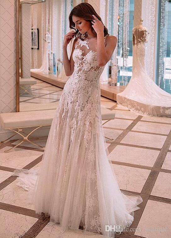 See Through Vestido De Noiva 2018 Wedding Dresses Mermaid Tulle Appliques Lace Beach Boho Dubai Arabic Wedding Gown Bridal