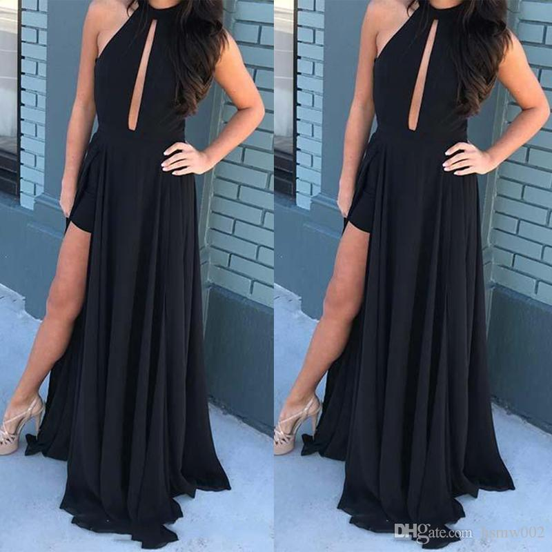 Sexy Halter Neck A Line Detachable Evening Prom Dresses Floor Length Sexy Black Simple Summer Prom Dress Party Wear Side Split Prom Gowns