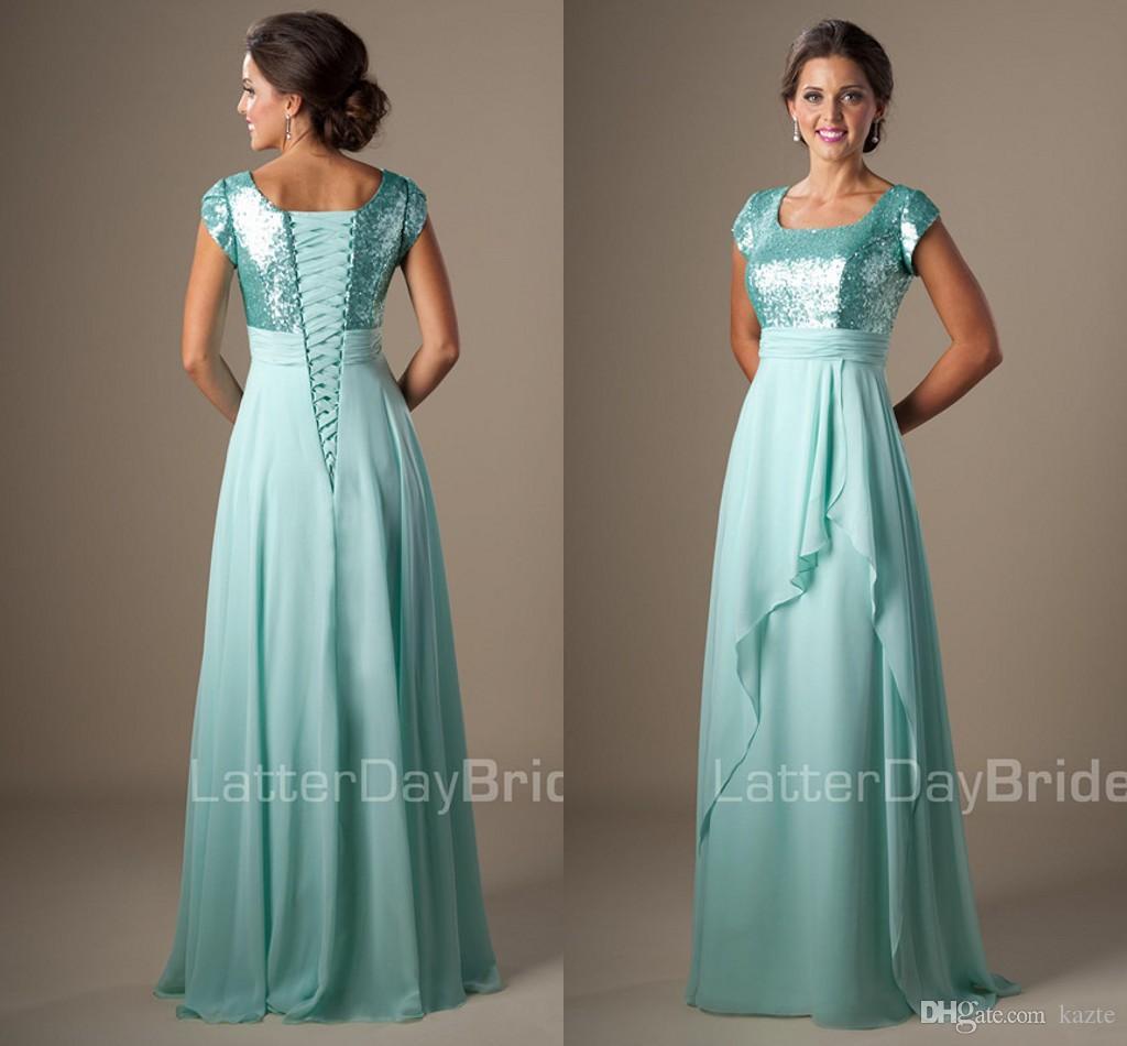 Mint Sequins Chiffon Modest Bridesmaid Dresses Short Sleeves Long ...