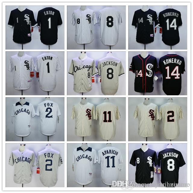 bd67279125d 2019 2019 Mens White Sox 1 Adam Eaton 8 Bo Jackson 11 Luis Aparicio 14 Paul  Konerko 100% Stitched Baseball Jerseys Color White Gray Black Yellow From  ...