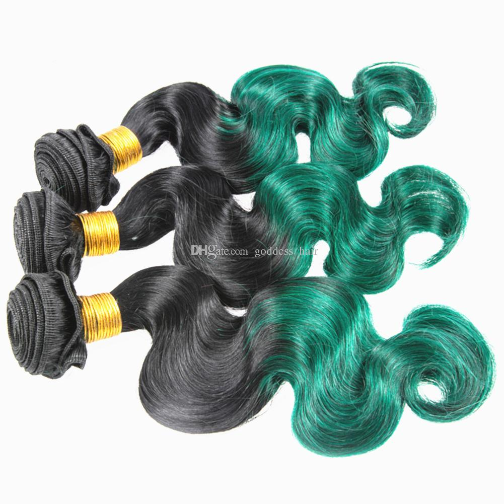 Populäres Produkt Ombre färbte menschliches Haar-Brasilianer 1B grünes Jungfrau-Haar bündelt Los malaysische Körperwelle zwei Tonhaar-Verlängerung 300g