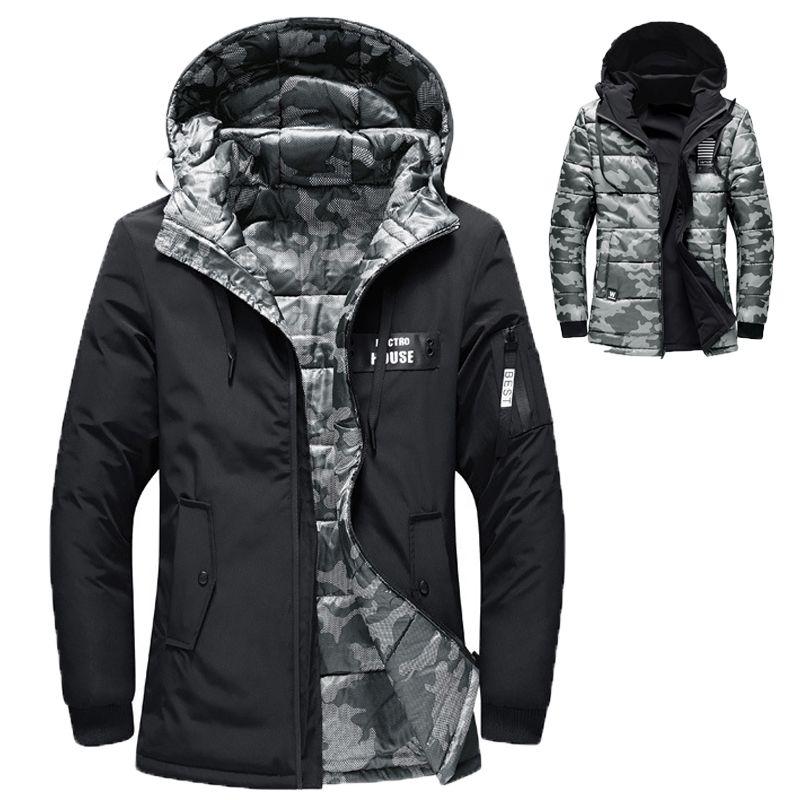 33b0ecf7f Hombres con capucha de invierno reversible Parka Chaquetas de moda Vestido  de invierno Hombres Ropa 150