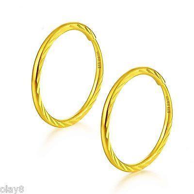 5787b3670505 Compre Nuevo Pure 999 24K Oro Amarillo Pendiente Mujeres Tallado Círculo Aro  Pendientes 1 1.5g A  156.99 Del Poety
