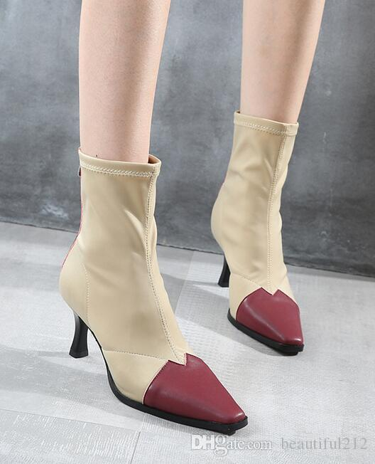 08fabae3240 Winter Sexy 7cm High Heel Boots Stiletto In The Tube Martin Boots Square  Head Stretch Socks Boots Fashion High Heels Canada 2018 From Beautiful212