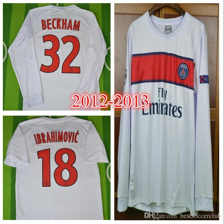 los angeles 0301c a2c2b 12 13 Zlatan Ibrahimovic paris David Beckham Retro Soccer Jersey 2012 2013  football shirt