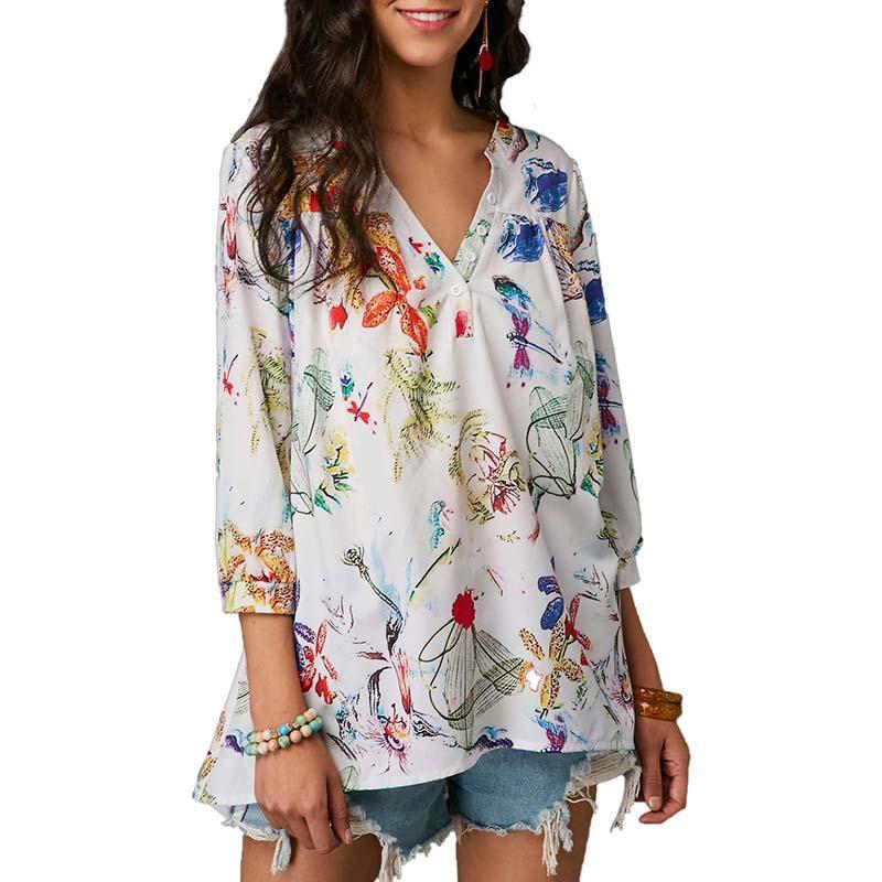 64152ee7bed Großhandel Neue Boho Sommer Bluse Shirt Casual V Ausschnitt Druckknopf 3 4  Ärmel Frauen Lose Blusen Tops Plus Größe 5x 6q1900 Von Feixianke