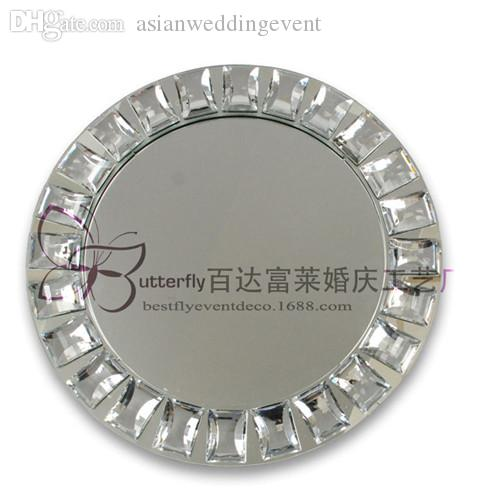 Mirror Bling Bling Crystal Beads Charger Plates in Silver Set of 12 Wedding Centerpiece
