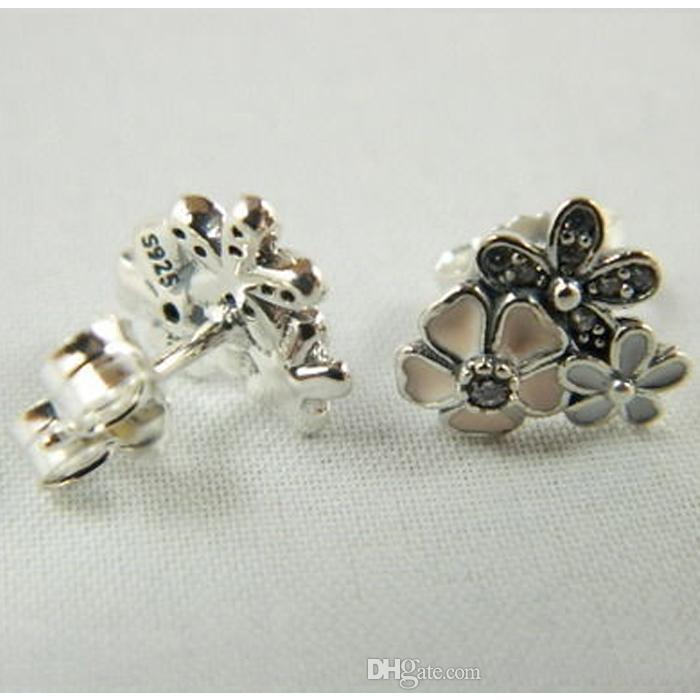 Flower S925 silver fits for pandora style bracelet POETIC BLOOMS STUD EARRINGS 290686ENMX H8