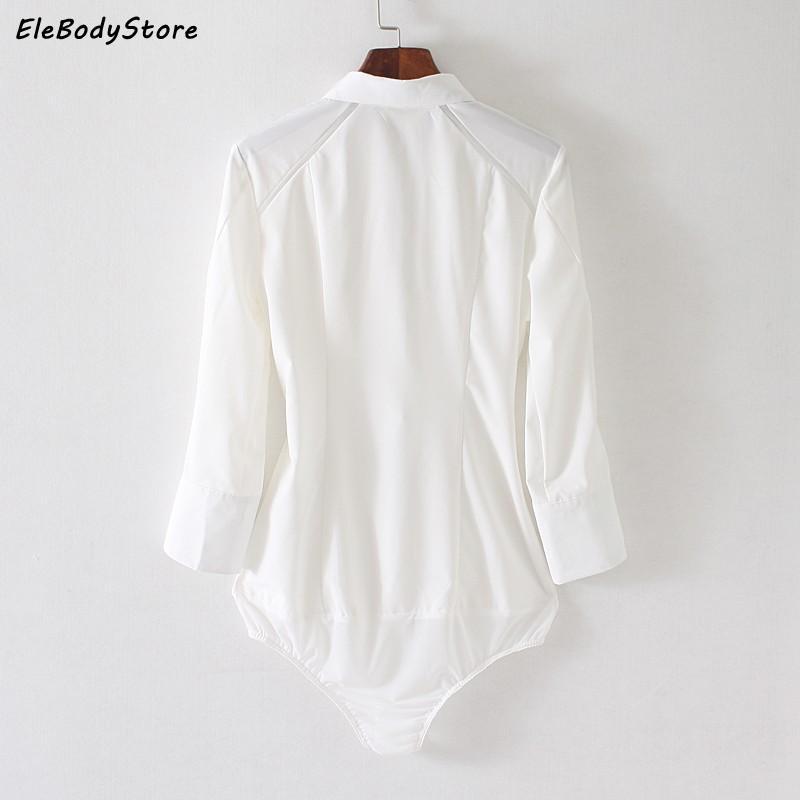 EleBodyStore 2017 Blusas 바디 블라우스 셔츠 여성 패션 바디 슈트 블라우스 탑 화이트 베이지 소매 여성 사무실 셔츠 의류