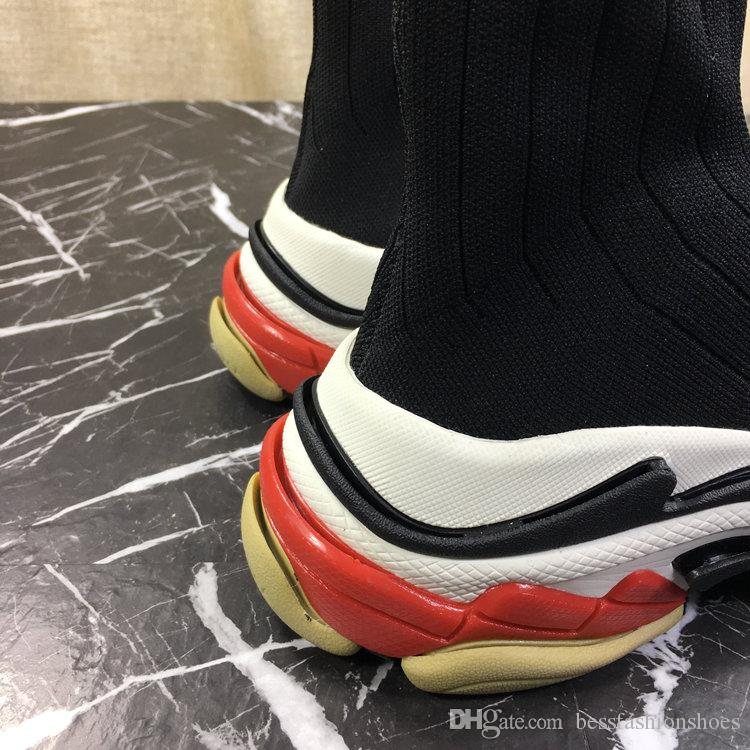 Spring Autumn Triple S Speed Trainer Men Casual Boots High Top Thick Heel Trains Sneakers Stretch-Knit Casual Shoes Woman Race Runner Shoes