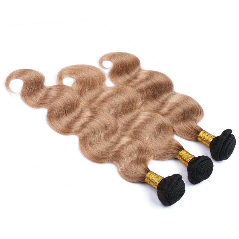 Ombre 1B/27 Honey Blonde 360 Lace Frontal 22.5x4x2 with Weaves Light Brown Ombre Peruvian Human Hair Bundle Deals with 360 Frontals