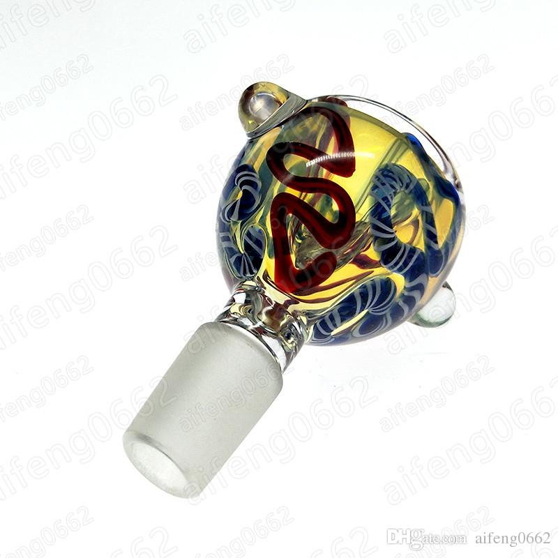 14mm 18mm recipiente de vidrio masculina para el vidrio de tuberías de agua Bong pipa de agua accesorios de fumar con patrones de colores