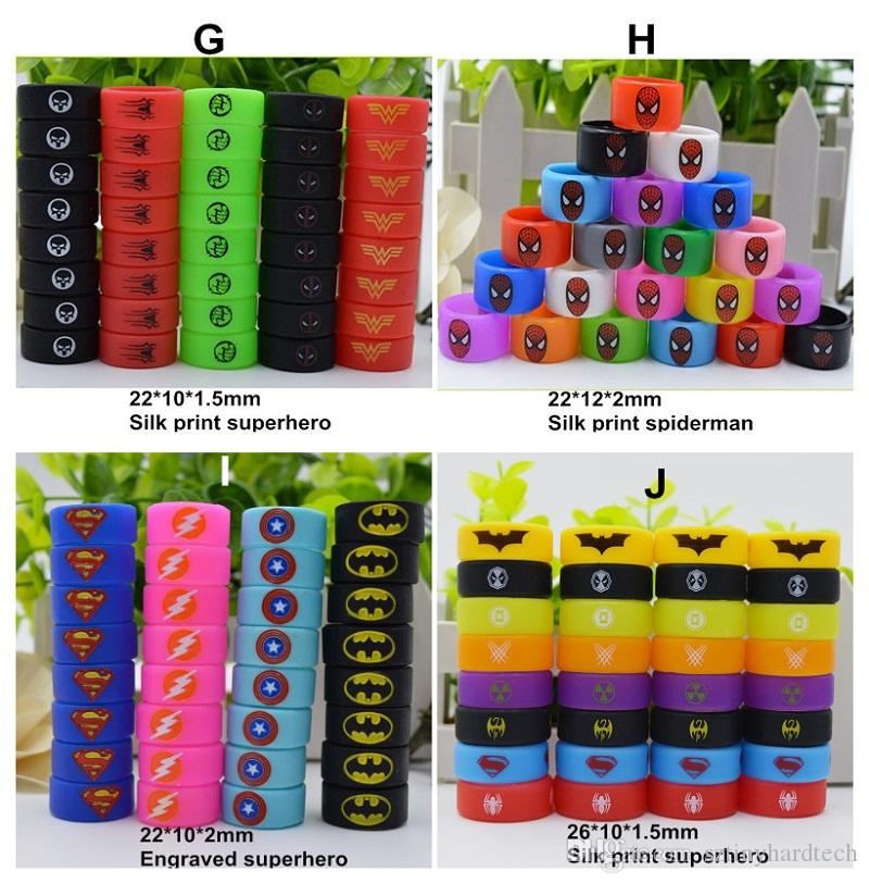 688d8a2d5ab563 Superhero Vape Bands Decoration Protection Rubber Silicon Rings With  Spiderman Superman Batman Captain America Flash Logo For Tank Mod Electric  Motor ...