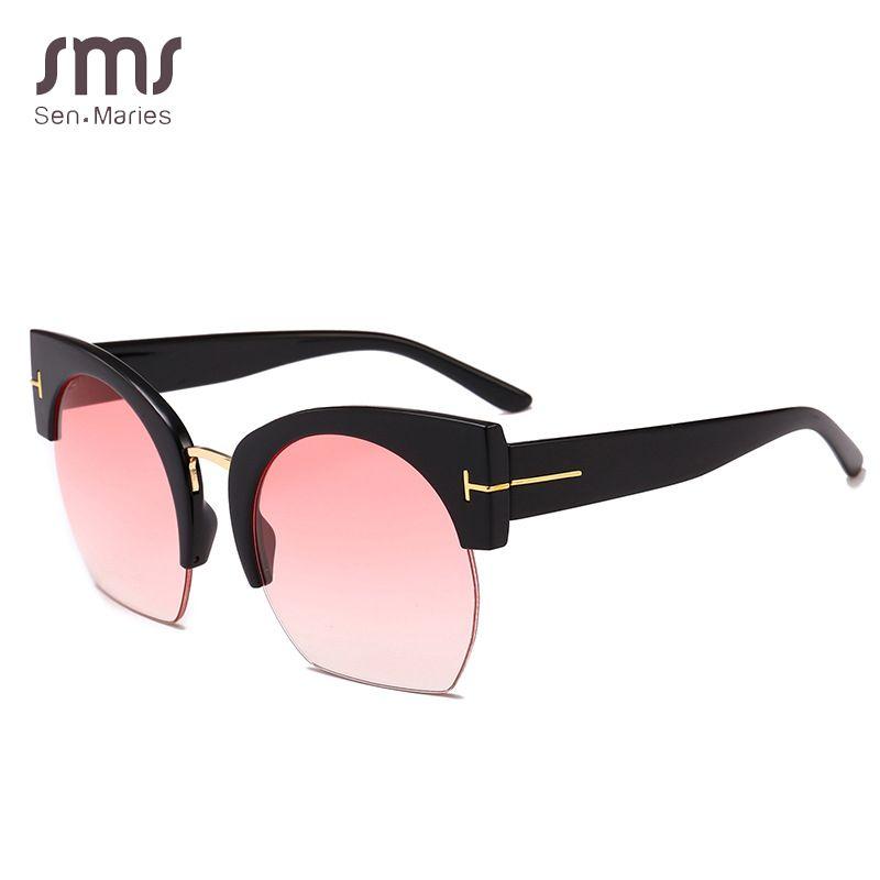 5e94587323 Brand Designer Semi-Rimless Sunglasses Men Women Vintage Gradient Shades  Sun Glasses Male Female Eyewear UV400 Oculos De Sol De Sol Oculos De Sol  Brand ...