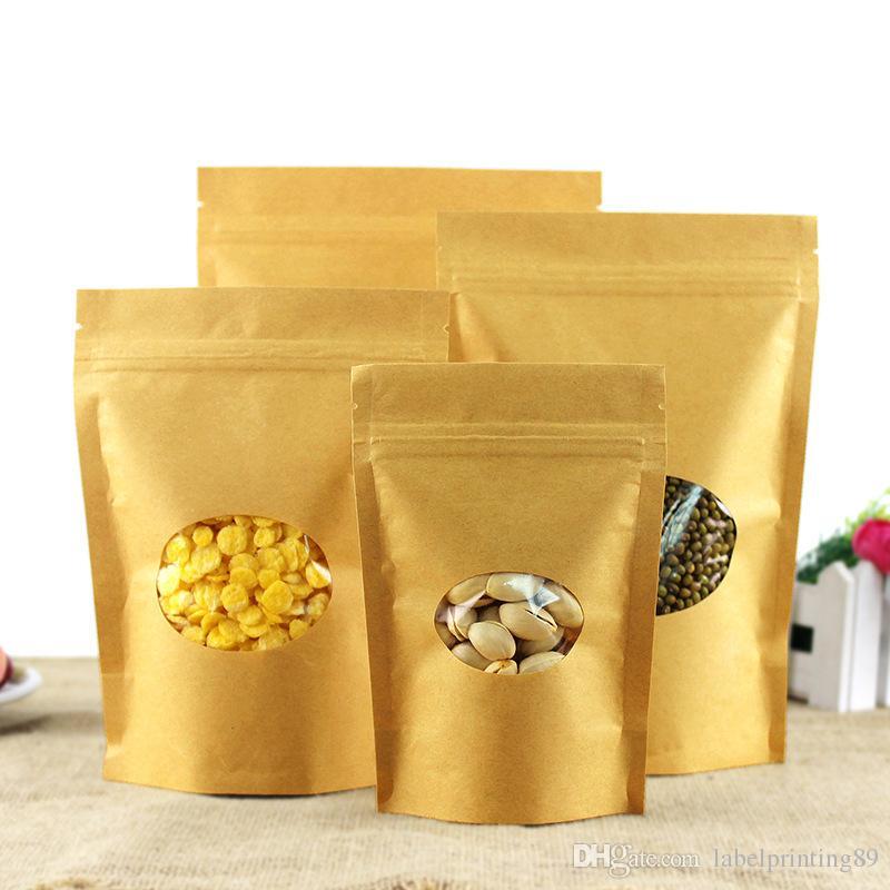 kraft paper stand up tea coffee self ziplock package bag food storage package for dry fruit nut grain