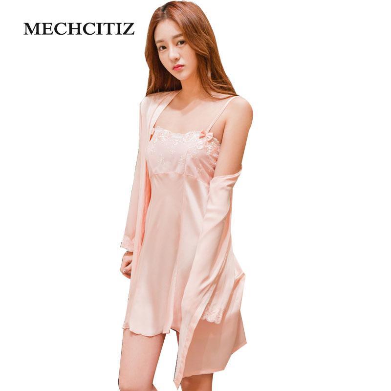 2019 MECHCITIZ Pajamas Robe 2018 Sexy Lace Nightgowns Women Bathrobe Set  Nighties Dress Long Sleeve Blouse Female Sleepwear Pijama From Goodly3128 9d1f8f2a1