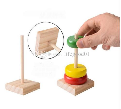 Rainbow Tower Colorful Enlighten Wood Toys For Kids Models Building Blocks Round Wooden Toys Geometric Assembling Block
