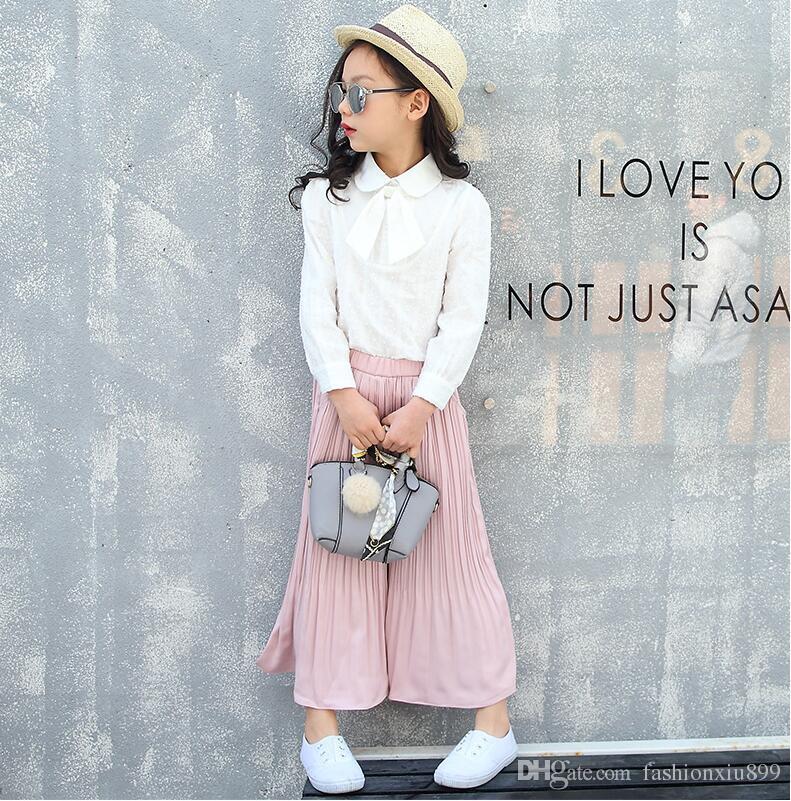 Blouses blanches pour les vêtements d'école de filles à manches longues à lacets jusqu'à Bowknot chemises Casual chemises tombantes 4 6 8 10 11 12 14 ans