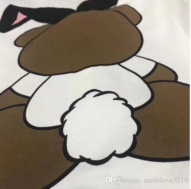 2018 Luxe Europe de Milano Los Angeles Paris oreilles de lapin ours t-shirt de haute qualité shirt Mode féminine T-shirt décontracté Coton T