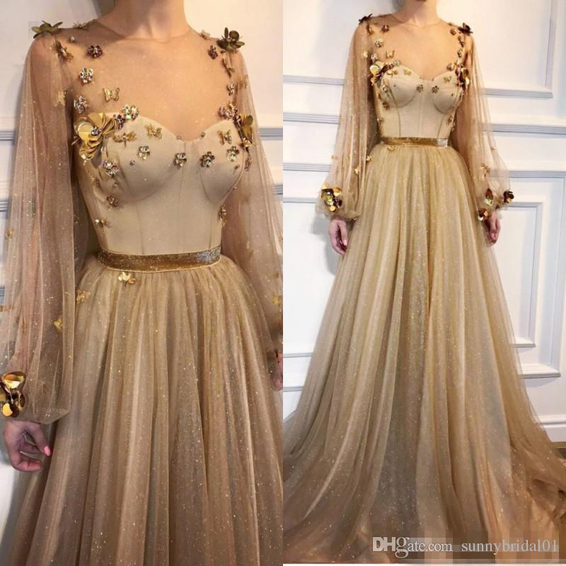 2018 or Robes de bal avec décolleté Sheer Illusion Poète Manches longues Robes formelles Tenue de soirée robes de Paillettes Appliques partie de Celebrity