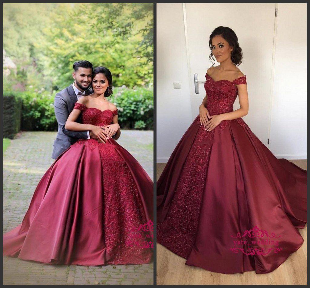 Großhandel 10 New Burgund Red Ballkleid Abendkleider Schatz Schulterfrei  Satin Plus Size Prom Kleider Verlobungskleider Quinceanera Kleider Von