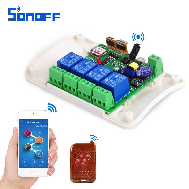 SONOFF AC85-250V 4 Channel Automation Module Jog Inching WIFI Wireless  Smart Switch Relay rf receive 433mhz Remote Control 4ch