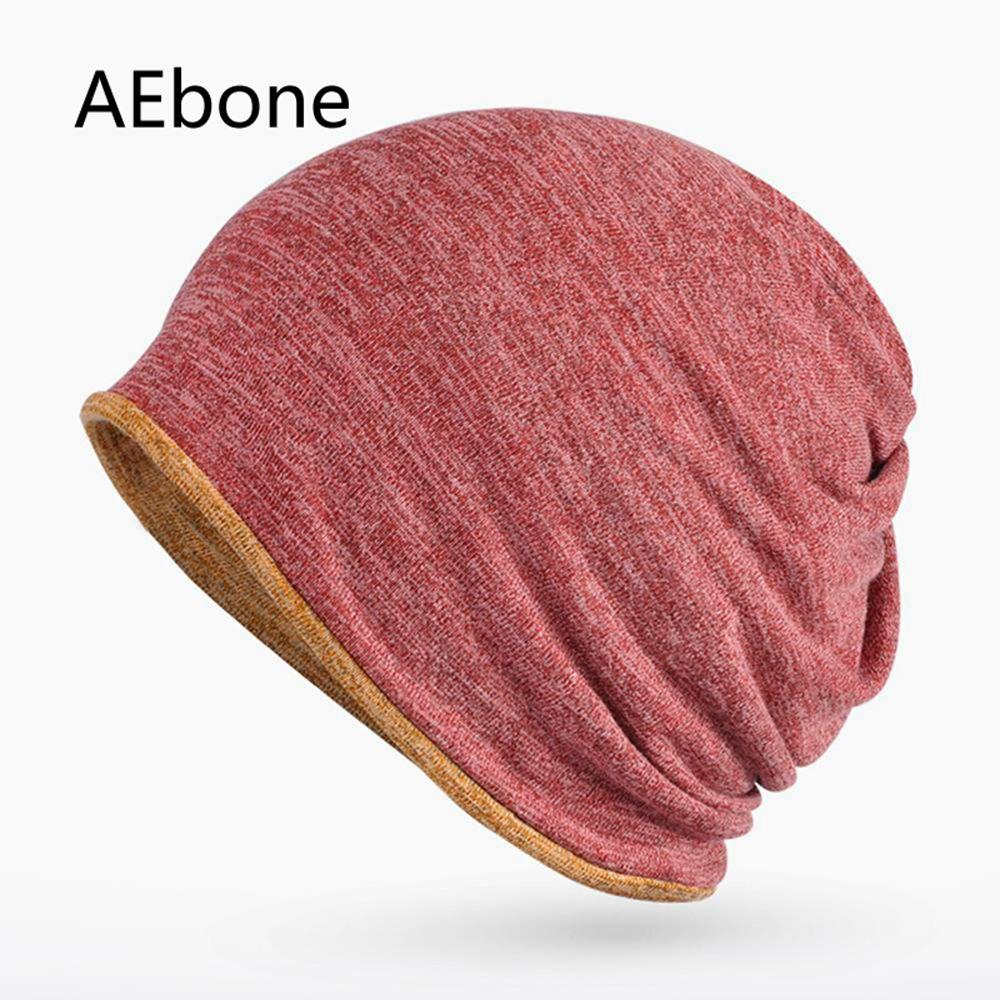 d8c0ec91a37 2019 AEbone Winter Ponytail Baggy Beanie Hat For Men Women Neck Warmer  Slouch Cap 2 Uses Hats Burgundy Solid Bonnet Homme AE8234 From Qingfengxu