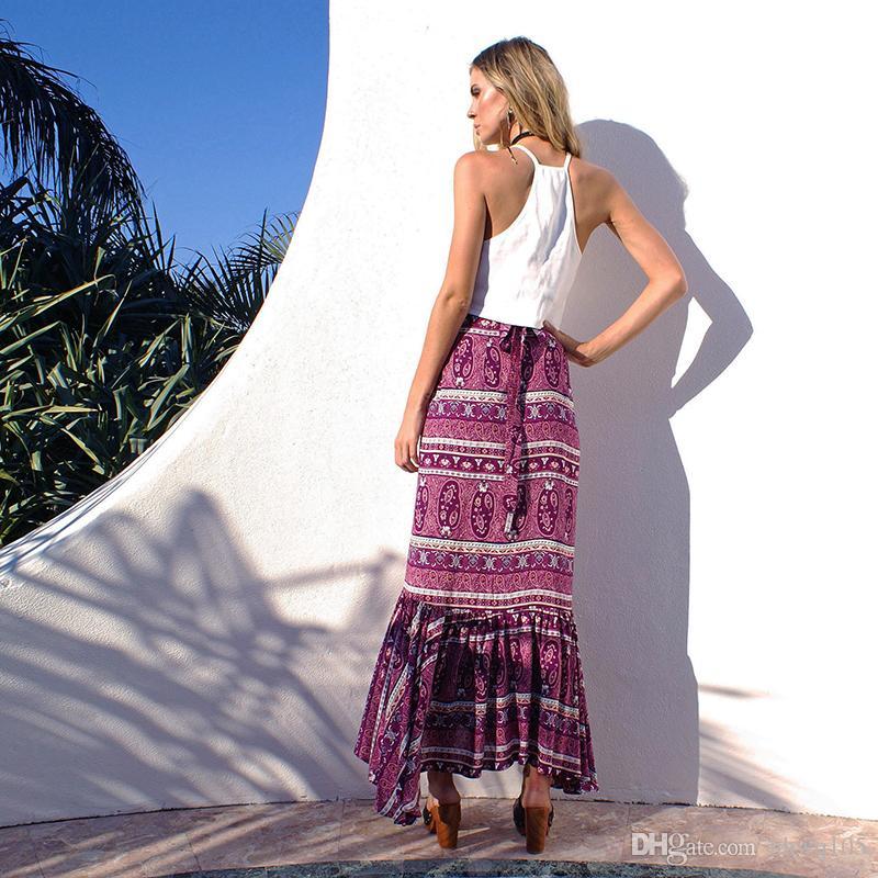 Boho faldas de las señoras delgados volantes falda de abrigo largo vacaciones de verano maxi asimétrico playa faldas vestidos paisley rayas faldas casuales CSH0109