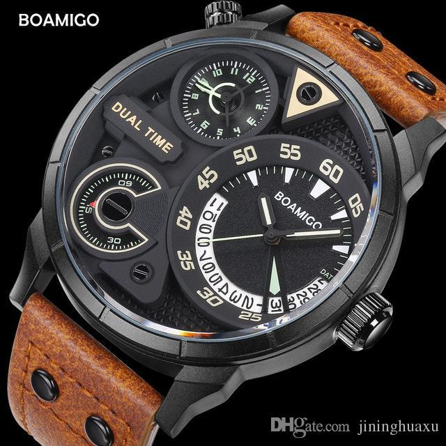 836589a8ce4c Compre Relojes Para Hombres De Moda Para Hombre Reloj De Cuarzo Deportivo  BOAMIGO Marca Reloj De Pulsera Para Hombre Reloj Correa De Cuero A Doble  Hora A ...