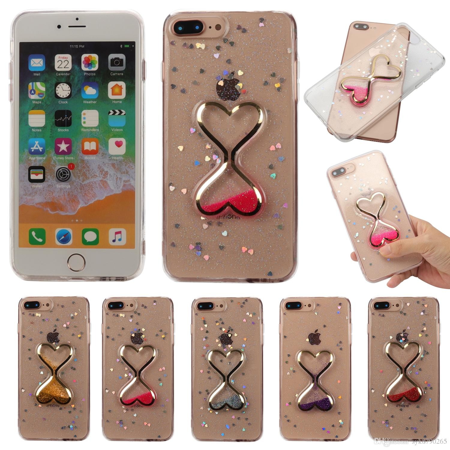 Creative 3D Time Hourglass Liquid Quicksand Glitter TPU Phone Case for IPhone X 5 5S SE 6 6s Plus 7 8 Plus IPhone X Case IPhone 8 Case IPhone 7 Case line