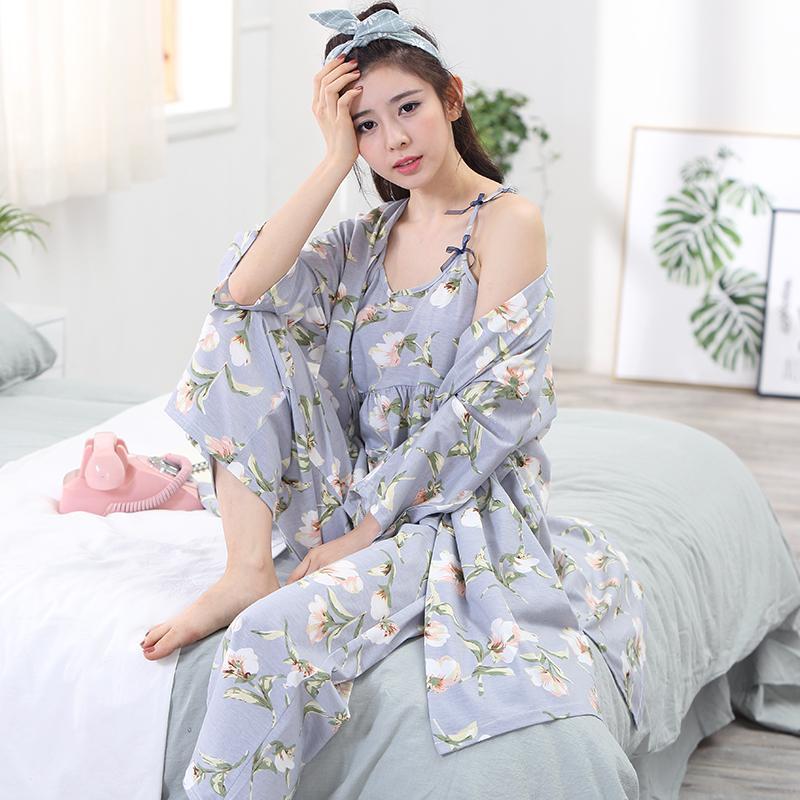 8b577a010 Compre Marca Otoño 3 Unidades Conjuntos Mujeres Vestido De Algodón Batas  Madurado Pijama Bata Conjuntos Sexy Mujeres Señoras Camisón Ropa De Dormir  Ropa ...