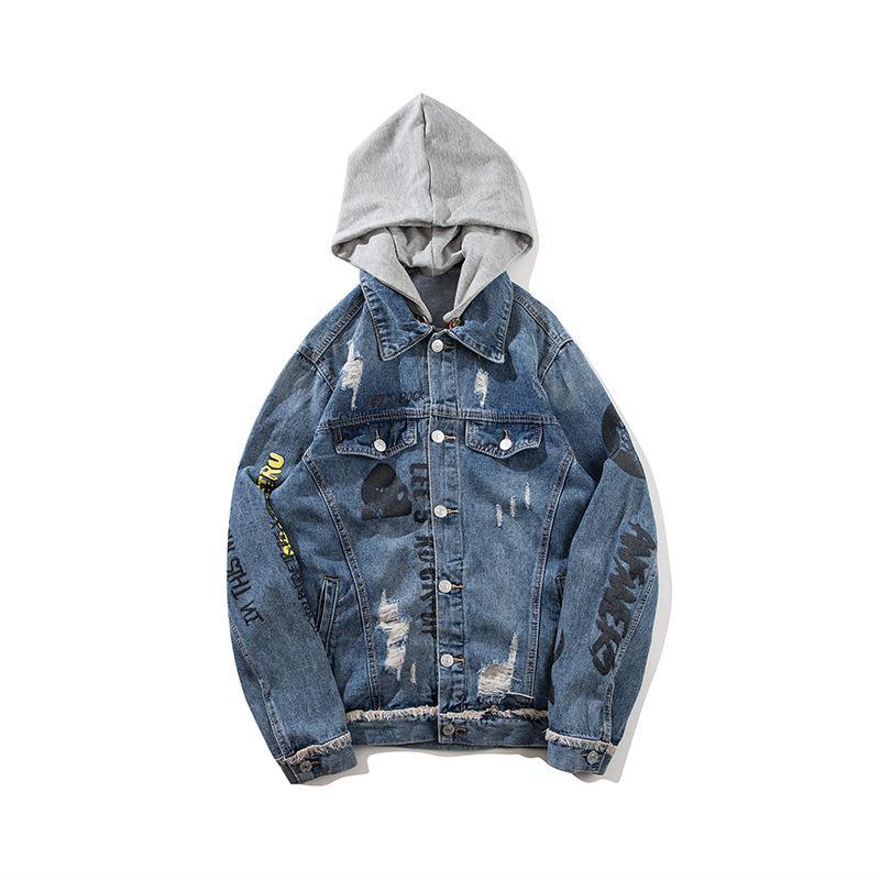 5231d72b0e3a ABOORUN Mens Oversized Denim Jackets Fashion Ripped Hole Hooded Coat ...