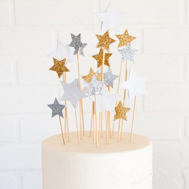 2019 Birthday Cake Topper Glitter Gold Silver Star Decoration Baby Shower Kids Party Wedding Supplies From Icelly 2067