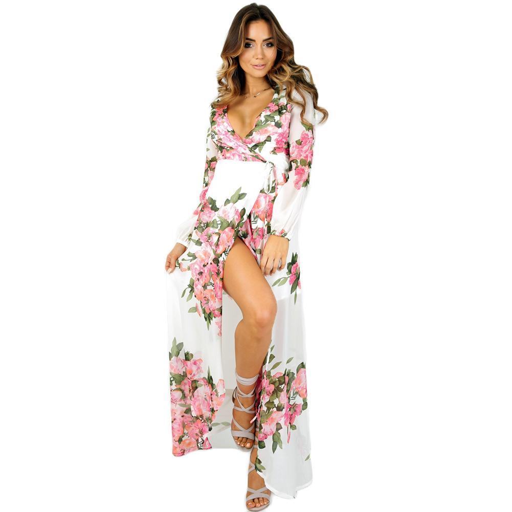 c49e9db7e Compre Verano Sexy Maxi Vestido De Gasa De Las Mujeres Retro Impresión De  La Flora Cuello En V Profundo Vestido Largo XL Manga Larga Dividida Elegante  Playa ...