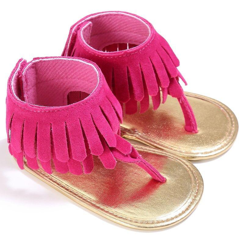 Newborn Baby Toddler Girl Crib Shoes Tassel Soft Sandals Prewalker 0-18M Summer