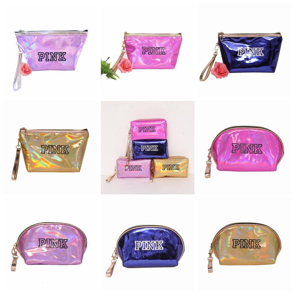 b1b776f63 Pink Letter Laser Cosmetic Bag 12 Styles Portable Handheld Mini Coin ...