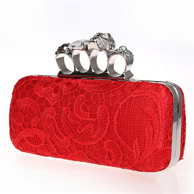 Skull Women Wristlet diamond purse dress party skull evening bag Envelope Clutch Ladies Bridal Fashion Lace Knuckle Box Clutch