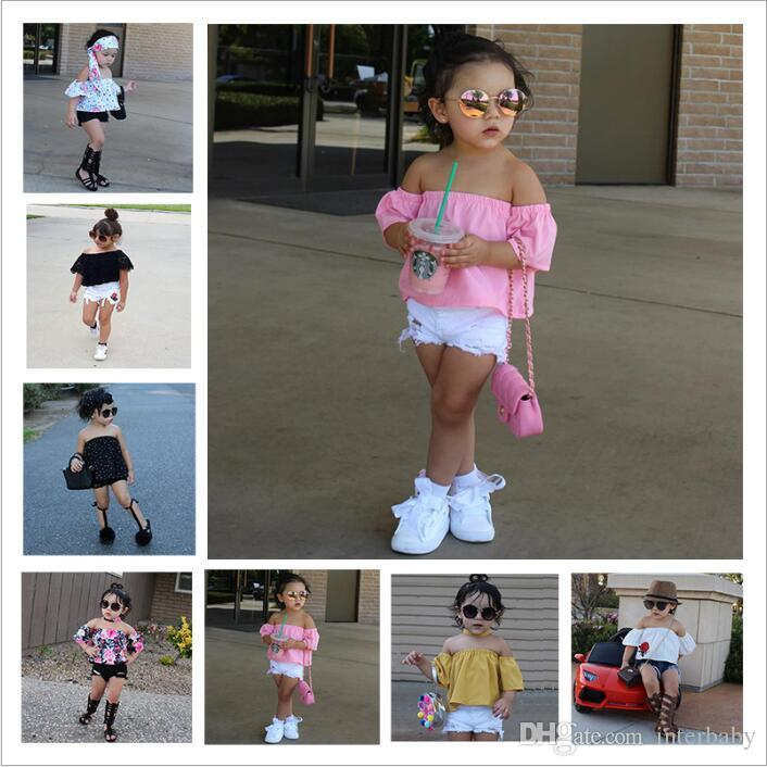 ff233d215f 2019 Baby Clothes Girls Ins Summer Outfits Cotton Short Sleeve Strapless  Shorts Suits Floral Lace Boob Tube Tops Pants Jeans Kids Clothing B3854  From ...