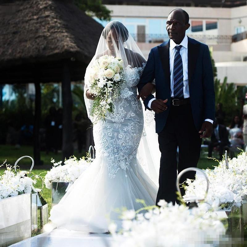 8422a229dd Glamorous Off The Shoulder Mermaid Lace Wedding Dresses Sweetheart Appliques  Tiered Bottom Bridal Gowns Chapel Train Vestidos De Nnovia Bridal Wedding  ...
