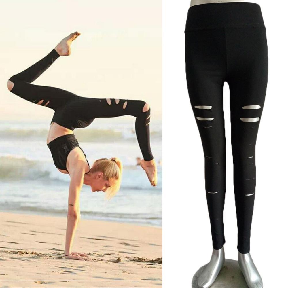 c393f84b6c 2017 Women's Black Fitness Leggings Gym Elastic Waistband Yoga Pants ...