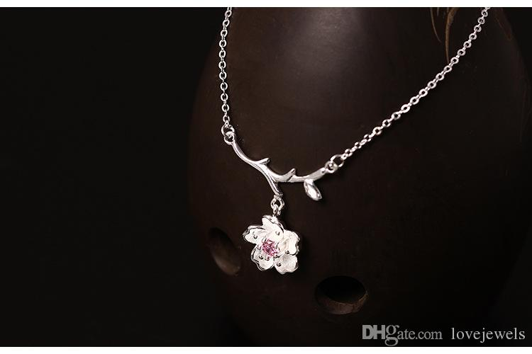 Charms 925 sterling silver pendant necklace crystal Lovely cherry blossoms Flower chain Fashion sets jewelry valentines day gift women