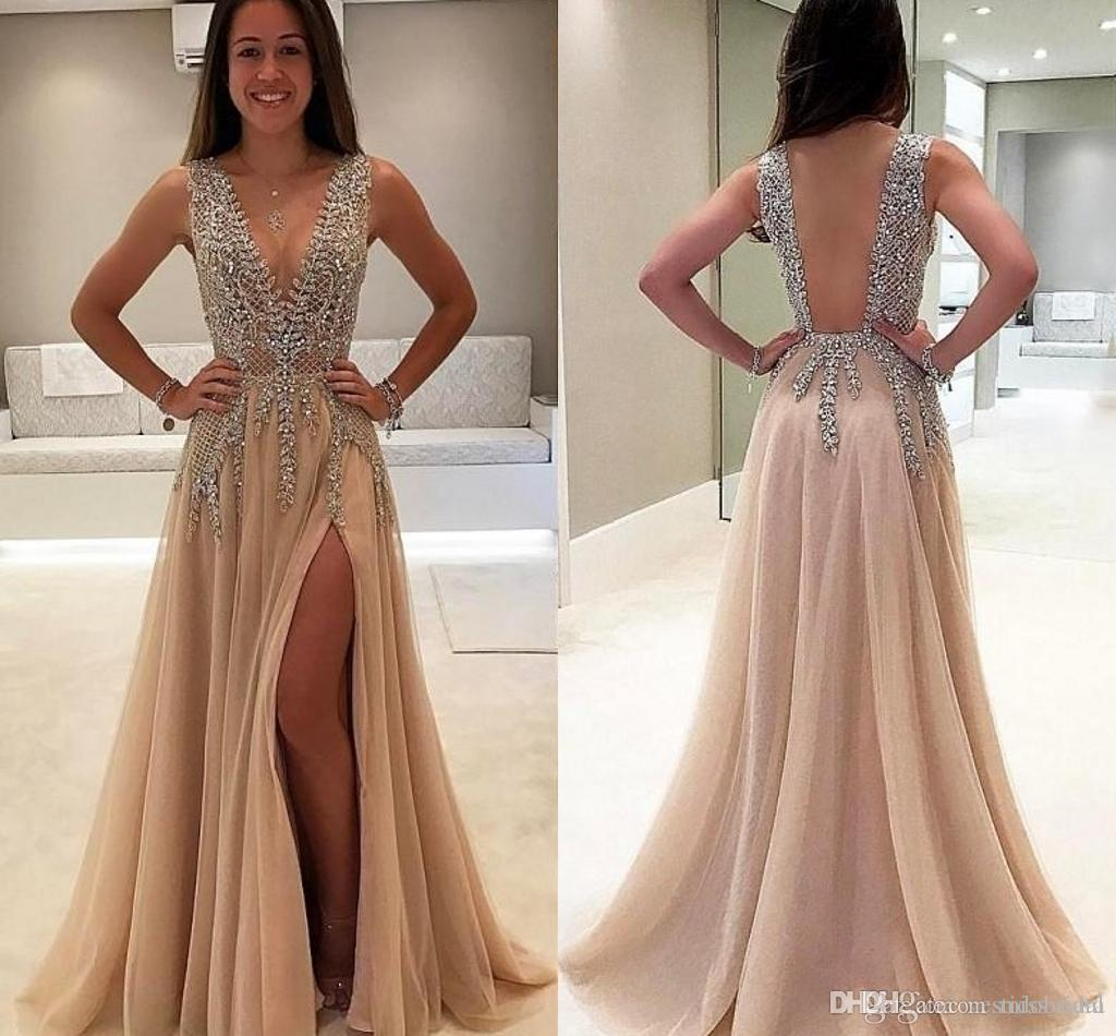 ee02987f9dfd Luxury Deep V Neck Side Split Prom Dresses See Through Back Beaded Saudi  Arabic Long Evening Dress Party Crystal Plus Size 2018 Debs Prom Dresses  Designer ...