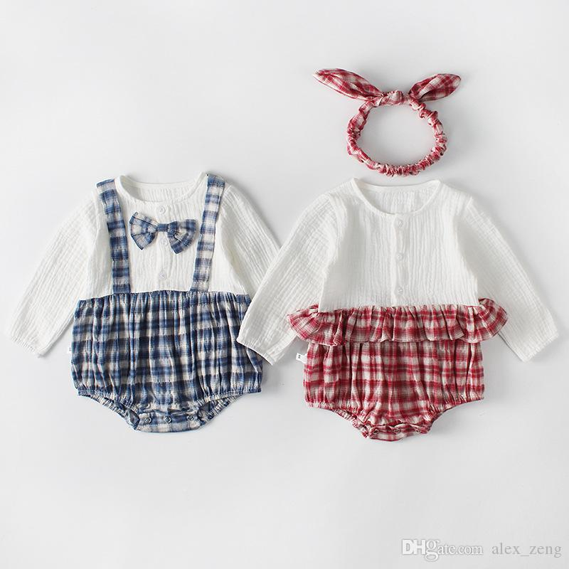 f8c67c244909 2019 Baby Girls And Boys Rompers New INS Autumn Winter Kids Lovely Lattice  Splicing Long Sleeve High Quality Cotton Brother And Sister Romper From  Alex_zeng ...