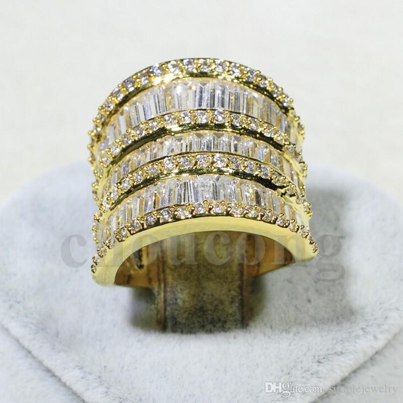Choucong Lüks Kadınlar Takı Sarı altın renk Elmas kadınlar için 925 Ayar gümüş Nişan Düğün Band Yüzük