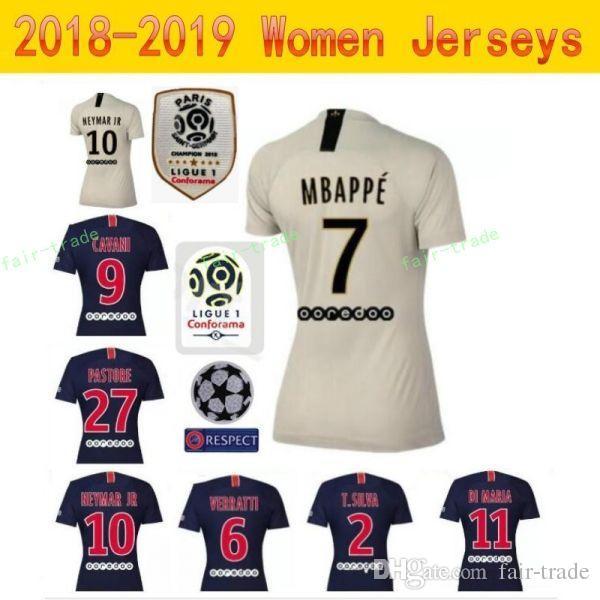 a886291796 Compre 2018 2019 FC Paris Saint Germain PSG Mulheres Camisa De Futebol  DRAXLER DANI ALVES BUFFON VERRATTI TRAPP Mulher Camisa De Futebol Kits  Senhora Make ...