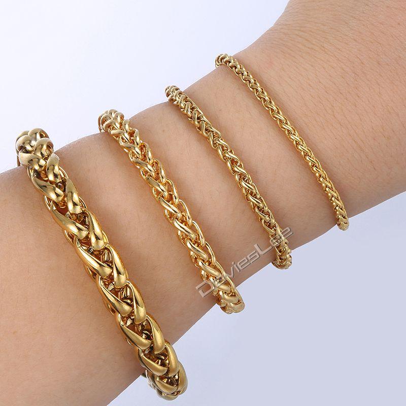 912ce7fdfdfb 3   3.5   6   9.5 mm pulsera trenzada de trigo para hombres mujeres cadena  de oro de acero inoxidable para hombre pulseras personalizadas joyería al  por ...